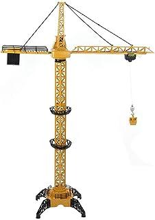 Dilwe RC Torre Grúa Vehículo de Ingeniería, 6 Canales 680 Grado de Rotación Sonido de Simulacion Ingeniero de Elevación Modelo de Camión de Ingeniería de Juguete(Amarillo)