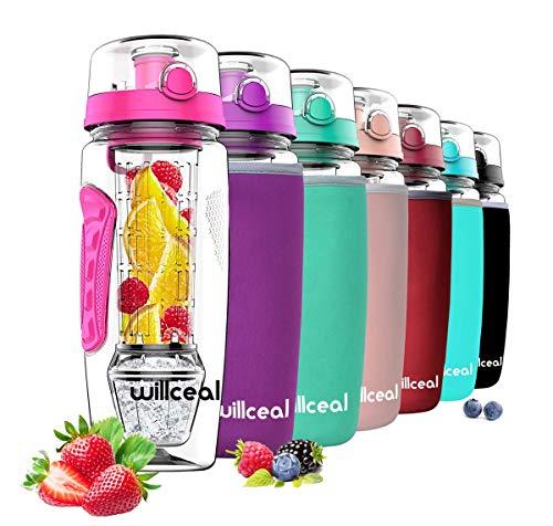 willceal Infusor de Frutas Botella de Agua de 32 oz,Durable con Bola de Gel de Hielo Desmontable, Grande - Tritan Libre de BPA, Tapa abatible, diseño a Prueba de Fugas - Deportes, Camping (Rosado)