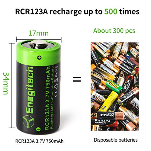 Enegitech CR123A Rechargeable Arlo Lithium ion Batteries 3.7V 750mAh 4 Pack for Arlo Camera VMC3030 VMK3200 VMS3330 3430 3530 Flashlight Home Security System