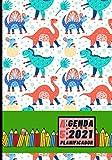 Agenda 2021 Planificador A5: Diseño de Portada Dinosaurios niño - Bonitas Agendas con Planificador semanal y mensual - Pequeña y de bolsillo para ... eventos y fechas importantes a semana vista