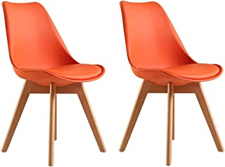 LHHL Tulip - Juego de 2 sillas de comedor con patas de madera de haya maciza para oficina, salón o cocina