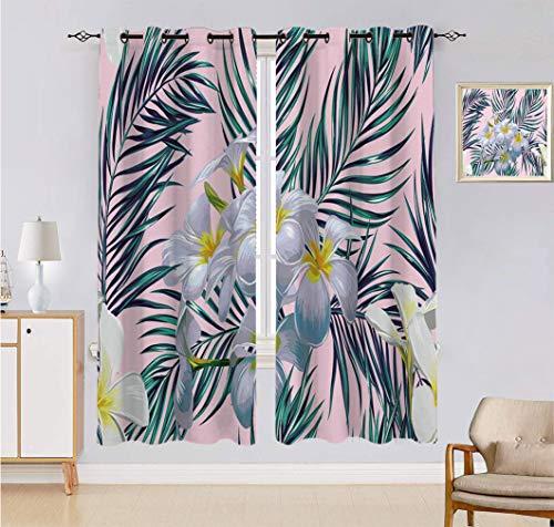 Alandana Cortinas de flores hechas a medida, flores tropicales, hojas de palma, hermoso patrón de selva floral, juego de 2 paneles, cada panel de 152,4 cm de ancho x 228,6 cm de largo