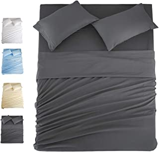 COHOME King Bed Sheets Set 4 Piece, Microfiber 1800 Thread Count Luxury Egyptian Sheets-Stain Wrinkle Fade Resistant, Hypoallergenic 16 inch Deep Pocket Bedding Set (Dark Grey)