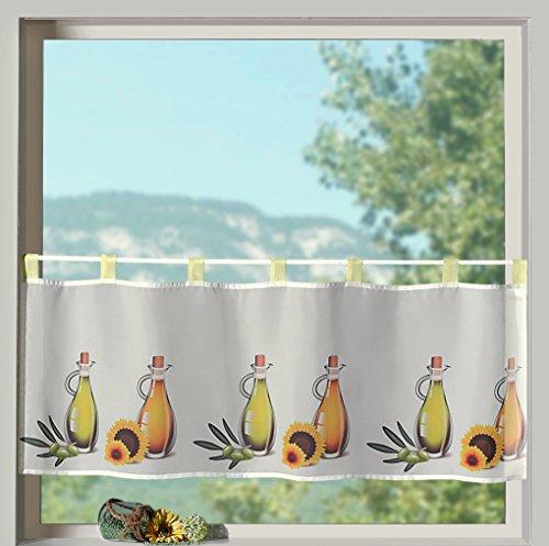 heimtexland ® Frühling Schlaufenbistro in gelb Öle mediterran hochwertiger Druck auf Voile in weiß Panneaux HxB 45x120cm Gardine Typ322