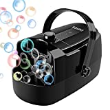 EASYCEL Bubble Machine, Automatic Professional Bubble Blower Machine, Portable Bubble Maker with Three Power Supply Modes(Plug-in/ Batteries/ Power Bank), Two Speed Levels (Black)
