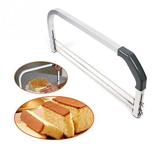 PRUNUS Kuchenschneider, verstellbar 3 Klingen - Kreuz- Querschnitt Der Beste Kuchenschneider für Anfänger, um den Kuchen gerade zu schneiden, Aber auch für Profis geeignet.