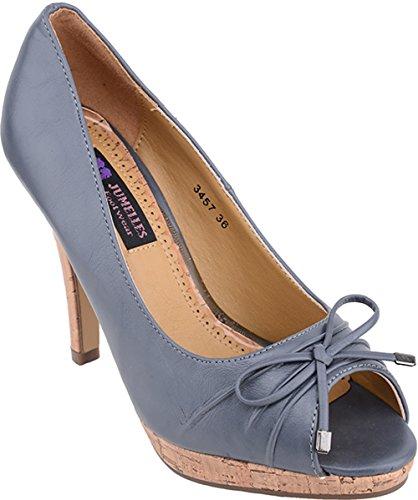 Damen Schuhe Korkabsatz Peep Toes High Heels Peep-Toe (38, Grau mit naturfarbenen Absatz)