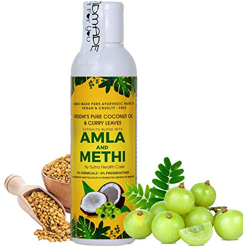 Vriddhi 200ML Amla Hair Oil with Methi and Curry Leaves for Natural Hair Growth