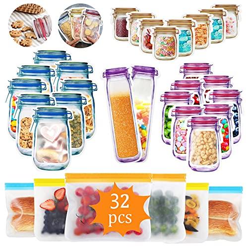 Bolsa de Botella Mason,Bolsas de Silicona Reutilizables,Juego de 32 piezas Bolsas Congelar Reutilizables,Bolsas de Tarro de Albañil para Frutas,Almuerzos,Viajes