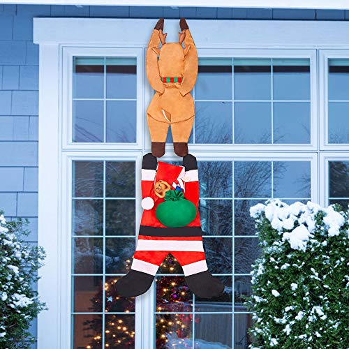 Joiedomi 65' Hanging Santa Claus with Reindeer for Christmas Holiday Season Outdoor and Indoor Decoration