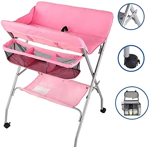 Babycommode Pink Nursery aankleedtafel for uw kind/baby's, Foldable Newborn Care Station kaptafels met Safety Strap Babyverzorging tafel
