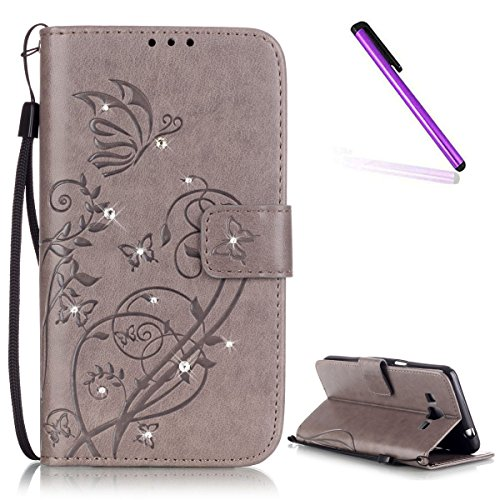 EMAXELERS Samsung Galaxy Grand Prime SM-G530 Hülle Bling Cristal Muster Ledertasche Hüllen mit Kunstleder für Samsung Grand Prime,Black Butterfly with Diamond
