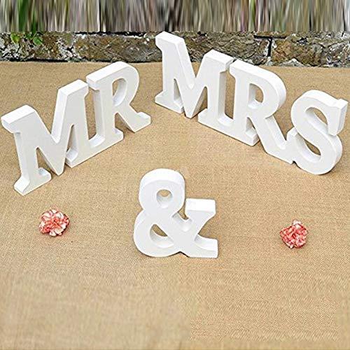 LinTimes MR & MRS buchstabenschmücken für Hochzeit Dekoration, Hochzeitsdeko Tisch Musuntas Dekoration Tisch Geschenk Dekor - Weiß