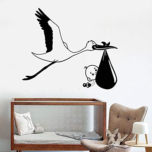 wopiaol Wall Decal Stork Baby Bird Nursery Children Baby Room Kids Bedroom Home Decor Vinyl Window Stickers Art Mural Removable