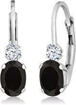 Gem Stone King 0.86 Ct Oval Black Onyx White Created Sapphire 14K White Gold 3/4 Inch Earrings