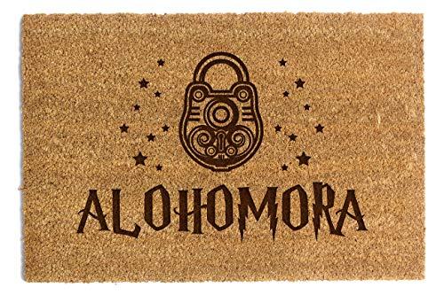 Felpudo de fibra de coco con texto Alohomora Entrance Natural Mat antideslizante 40 x 60 cm