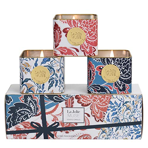 LA JOLIE MUSE Candle Gift Set for Mom Women, Scented Candles Set 3 Natural Soy Candles for Home...