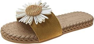 Padaleks Straw Sandals for Women Flat Espadrilles Open Toe Comfort Casual Boho Fisherman Shoes Beach Slippers