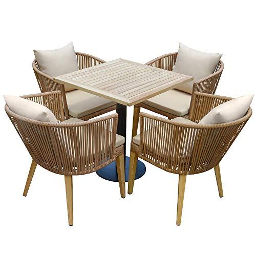 VBARV Sedie da Giardino in Rattan tavoli e sedie, 5 Pezzi Set bistrot per Conversazione in Vimini all'aperto, Protezione Ambientale in Rattan PE, con Cuscini per sedili, per Prato a Bordo Piscina