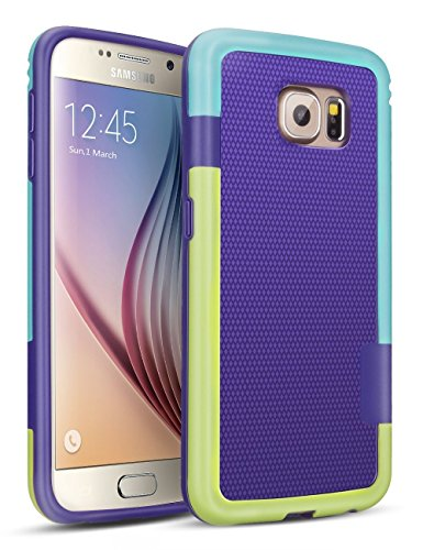 HanLuckyStars Galaxy S6 Funda - [Ultra Hybrid] Funda Carcasa Case TPU Matte Shell Exact Bumper Tope Shock Protección Gota Choque Absorción Borrar Espalda para Samsung Galaxy S6 (Púrpura)