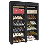 ERONE Shoe Rack Storage Organizer, 28 Pairs Portable Double Row with Nonwoven Fabric Cover Shoe Rack Cabinet for Closet (Black)
