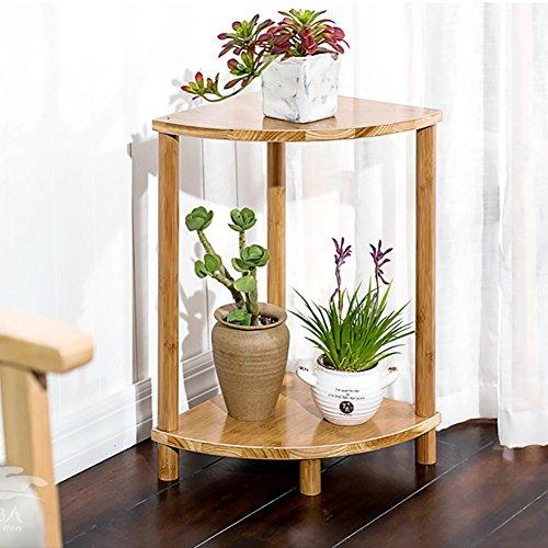 RJZHJ Simple et créatif Bois massif Bambou secteur Support de fleurs intérieur balcon patio Multi-couche sol Pot de fleurs Bonsai cadre Cadre de l'usine , 50cm