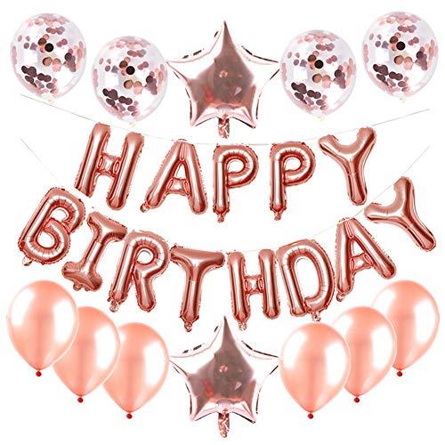 Cumpleaños Globos Decoración Oro Rosa - Oro Rosa Happy Birthday Pancarta, Globos de Feliz cumpleaños Globo de Confeti de Latex, Globos de Estrella, para Fiesta Decoraciones