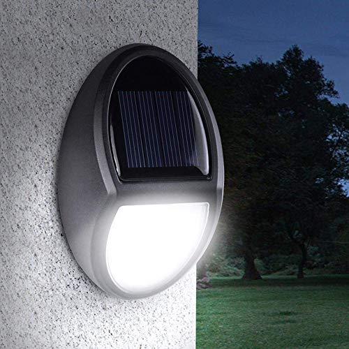 AKAMAS Solar-Deck-Lichter, Wandmontage, wasserdicht, LED, Garten-Lampe, Lichtsensor, Außenbereich, Garten, Villa Hof, Beleuchtung für Zaun, Treppen, Terrasse, Teich, Pool