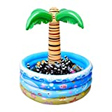 Toyvian 37 Inch Inflatable Palm Tree Cooler, Summer Swimming Party Decoration, Floating Pool Cooler for Beach Theme & Hawaiian Party