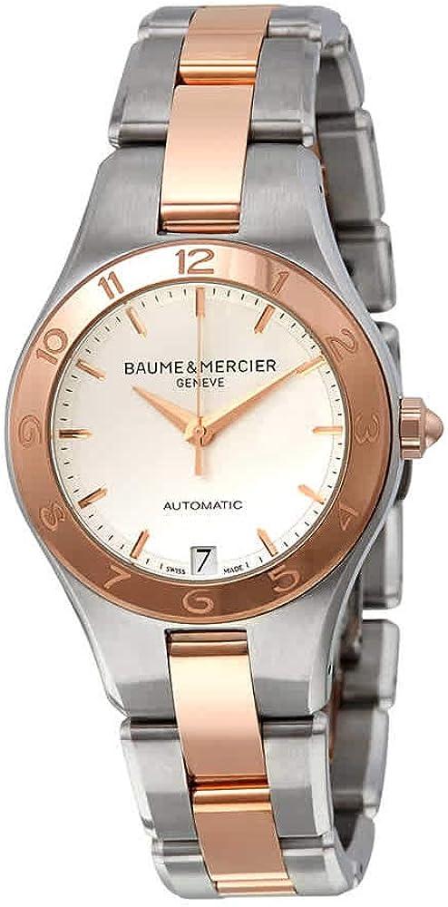 baume & mercier orologio da donna in acciaio inox e oro rosa 18kt 10073