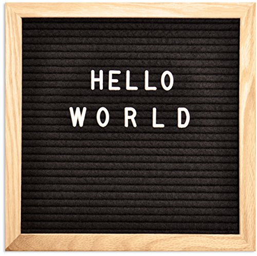 Letter Board - Felt Letter Board - Changeable Wooden Message Board Sign - Black Word Board 10x10 Inches - with Oak Wood Frame - Wall Mount & Stand - 300 Plastic Letters, Numbers & Symbols