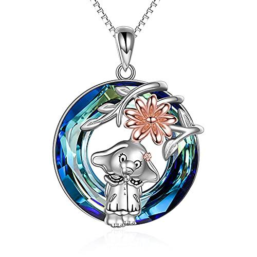 URONE Collar de elefante de plata de ley para mujer con elefante de cristal azul y girasol, joyas de animales para hija y madre