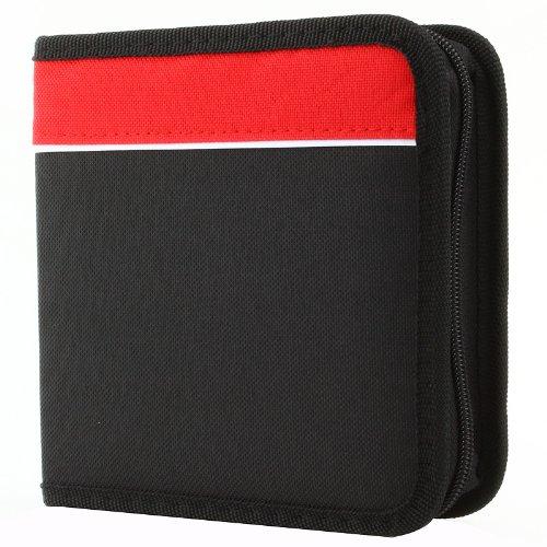 48 DISC Capacity CD Wallet for CD, DVD, Blu-Ray Media Storage, Nylon CD Holder, Black / Red