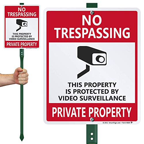 10 x 12 Aluminum Sign with 3 Stake Lyle Signs K-7357-AL-10x12-3Ft-PostKit SmartSign/No Smoking Sign for Lawn