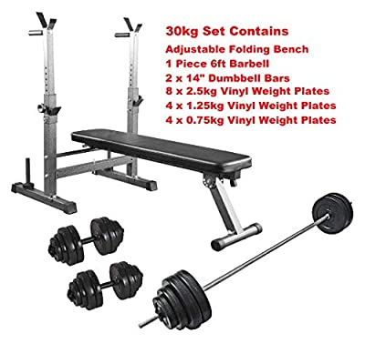 Weight Bench + 30kg Dumbbell Set Adjustable & Folding Workout Bench from UK Fitness