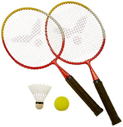 VICTOR Kinder Badminton-Schläger Mini-Set, Rot/Gelb/Weiß