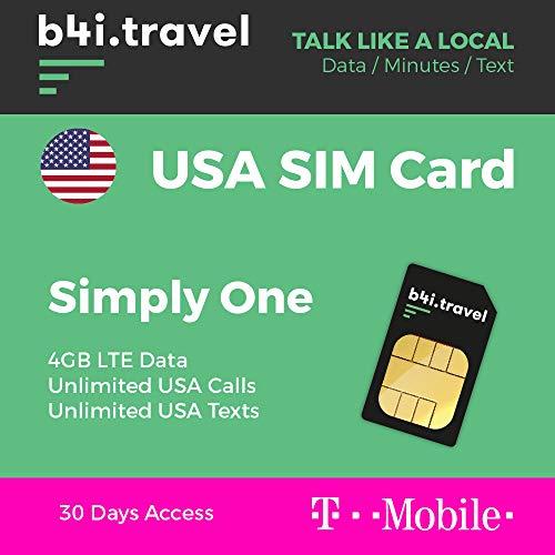 USA Prepaid-SIM-Karte – von T-Mobile – 4 GB LTE-Daten, unbegrenzte Anrufe, unbegrenzte SMS – 30 Tage