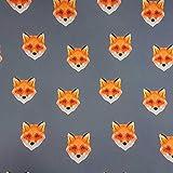 Stoff Baumwolle Softshell grau orange Fuchs Outdoor