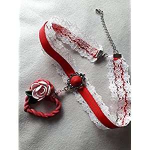 DesignSpatzl – Handgemachter Trachtenschmuck, Kropfband mit Herzanhänger, Rot