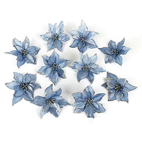 ADSRO 10Pcs Glitter Hollow Wedding Party Decor Christmas Artificial Fabric Simulation Flower Xmas Tree Decorations (Blue)
