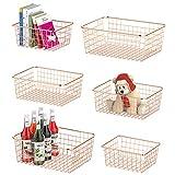 Wire Storage Basket, F-color 6 Pack Multi Size Metal Baskets for Storage Organizer for Pantry, Shelf, Freezer, Kitchen, Cabinet, Bathroom, Rose Gold