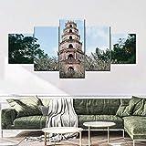 ARIE 5 Piezas Cuadro En Lienzo Pagoda Thien Mu Cuadros 5 Modernos Impresión De Imagen Artística Lienzo Decorativo para Tu Salón Dormitorio Navidad Decorar