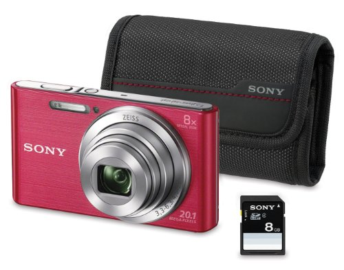 "Sony DSC-W830 - Cámara compacta de 20.1 Mp (pantalla de 2.7"", zoom óptico 8x, estabilizador óptico), rosa - Kit cámara + Funda + SD 8 GB"