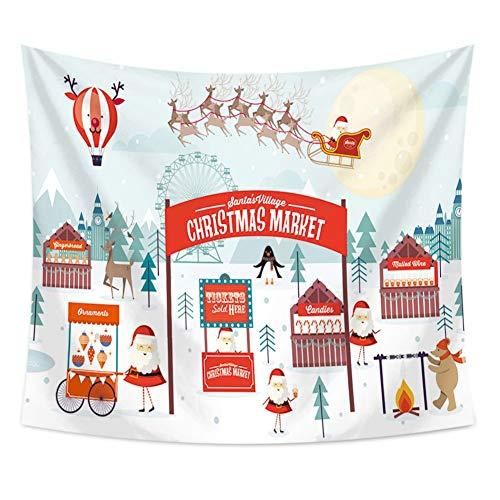ZKAMANG Cartoon Weihnachtsmarkt Weihnachten Tapisserie, Kinderzimmer Wand Stoff Hängen, Kopfteil Schlafzimmer Wand Decke 150X130 cm (60