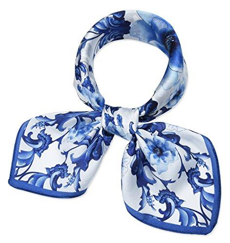 Corciova Damen Halstuch, quadratisch, 100 {c99a6434e99aeb8b1d2cebe22253ca15885679e97ecdd1132cc652f4de4bd6f8} echte Maulbeerseide, 53,3 cm - Blau - Small