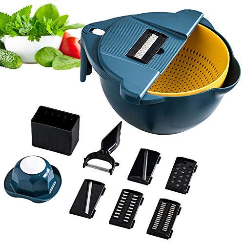 11 in 1 Slicer, Multifunctional Vegetable Cutter Drain Basket Vegetable Cutter,Salad Cutter Bowl,Rotating Vegetable Cutter with Drain Basket