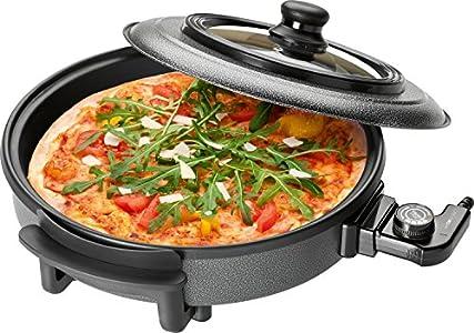 Clatronic 251130 Sartén eléctrica especial para pizza, tapa de cristal, diámetro 36 cm, 1500 W, Negro