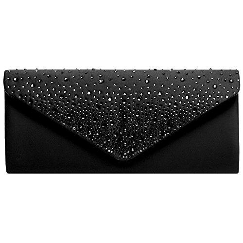 Caspar TA422 elegante Damen Baguette Envelope Clutch Tasche mit Strass Dekor, Farbe:schwarz, Größe:One Size