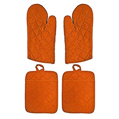 2 Pot Holders and 2 Oven Mitts Available in 4 Colors (Orange)