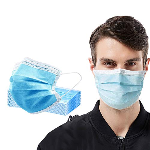 Disposable Safety Masks with Adjustable Nosebridge, 3-Ply Dustproof Face Masks for Personal Protection(50 Pcs)